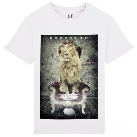 T-shirt rugby The king blanc
