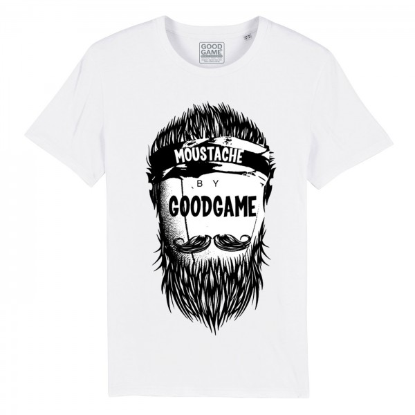 T-shirt rugbymoustache blanc