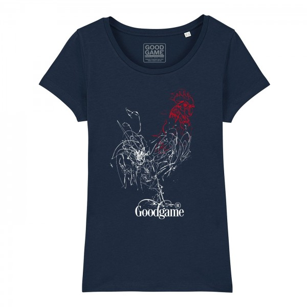 T-shirt  coq traits marine