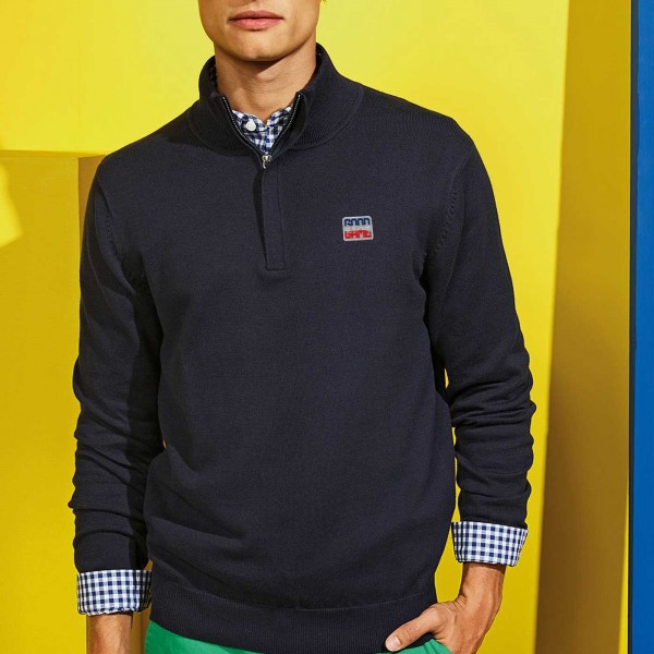 Pull homme zip 1/4 french